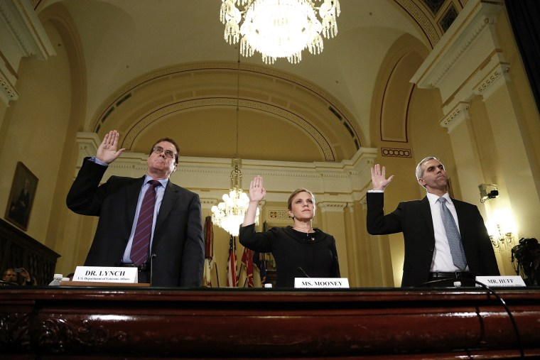 Lynch, Mooney and Huff are sworn in to testify before a House Veterans' Affairs Committee hearing on the Phoenix VA Health Care System wait list, on Capitol Hill in Washington