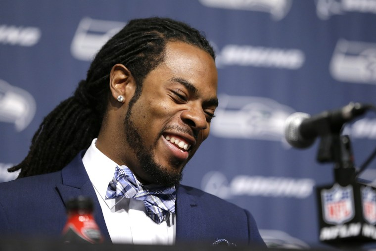 Seattle Seahawks' Richard Sherman speaks during a news conference, May 7, 2014, at the team's headquarters in Renton, Wash.
