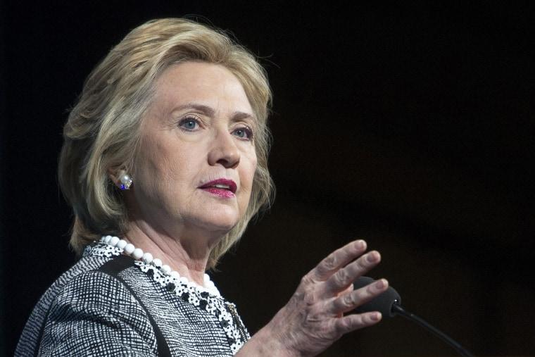 Hillary Rodham Clinton speaking in Washington, May 14, 2014.