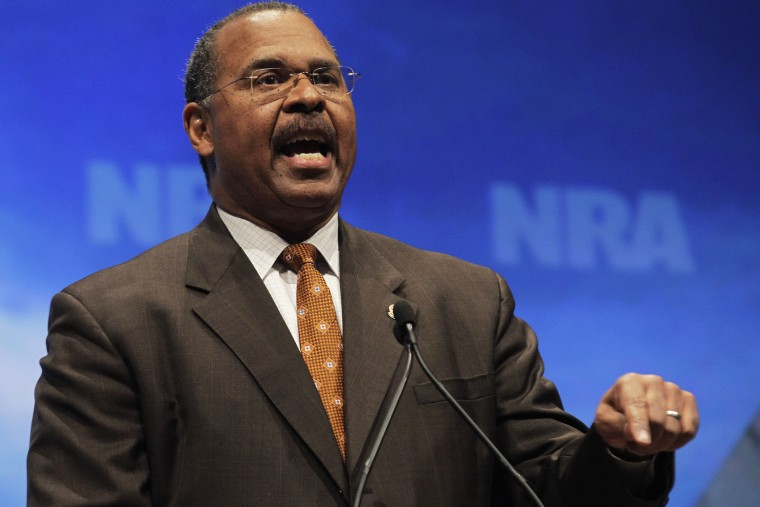 Former Ohio Secretary of State Ken Blackwell speaks at the National Rifle Association convention in St. Louis, Friday, April 13, 2012.