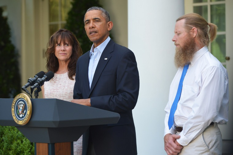 President Barack Obama speaks in the Rose Garden of the White House with Sgt. Bowe Bergdahl's parents, May 31, 2014 in Washington, D.C.