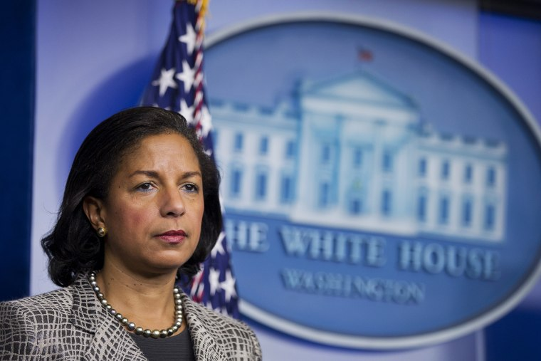 National Security Adviser Susan Rice listens to reporters questions during a briefing, March 21, 2014, in the Brady Press Briefing Room of the White House in Washington, D.C.