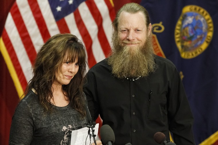 Jani and Bob Bergdahl speak to the media during a press conference at Gowen Field in Boise, Idaho, June 1, 2014.