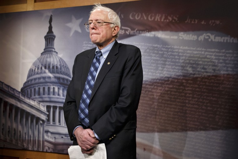 Sen. Bernie Sanders, I-Vt., chairman of the Senate Veterans Affairs Committee, stands in the Capitol, Feb. 27, 2014, in Washington, D.C.