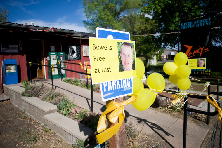 Signs of support with images of U.S. Army Sergeant Bowe Bergdahl are displayed in Hailey, Idaho, May 31, 2014.