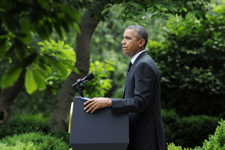 President Barack Obama pauses while speaking about the future of US troops in Afghanistan, May 27, 2014, in the Rose Garden of the White House in Washington, D.C.