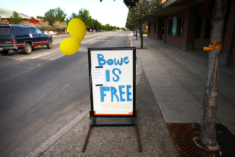 A sign announcing the release of Sgt. Bowe Bergdahl sits on Main Street in Hailey, Idaho, June 1, 2014.
