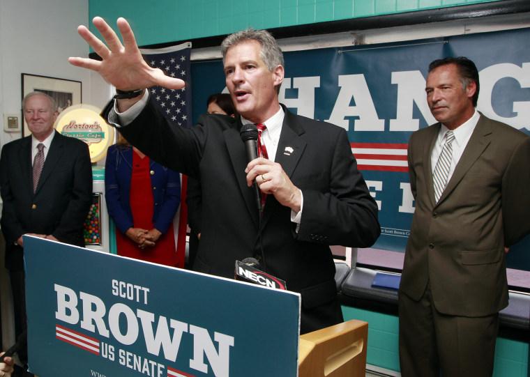 Republican U.S. Senate candidate Scott Brown, Tuesday, May 27, 2014 in Nashua, N.H.