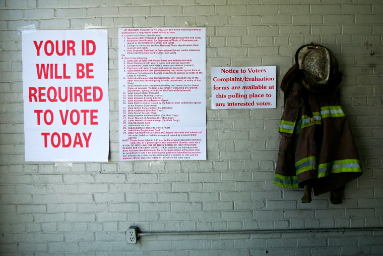 Voting signs are posted during the presidential election in Selma, Alabama.