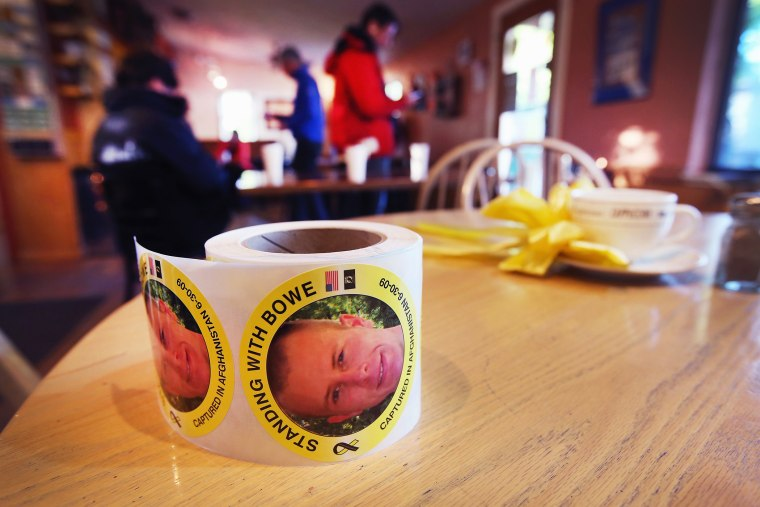 A roll of stickers showing support for Sgt. Bowe Bergdahl sit on a table inside of Zaney's coffee shop, June 2, 2014 in Hailey, Idaho.