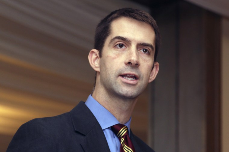 U.S. Rep. Tom Cotton, R-Ark., speaks at a meeting of university officials in Little Rock, Ark., Nov. 1, 2013.
