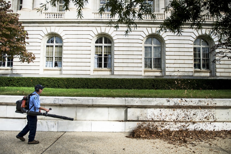 A worker cleans leaves from the Russell Senate Office Building on Capitol Hill October 17, 2013 in Washington, DC.