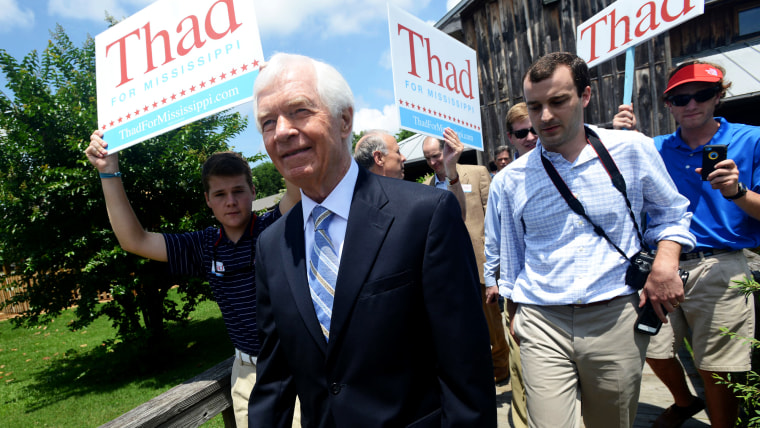 U.S. Sen. Thad Cochran, R-Mississippi, leaves a pre-election day rally at the Mississippi Agriculture and Forestry Museum in Jackson, Miss., June 2, 2014.