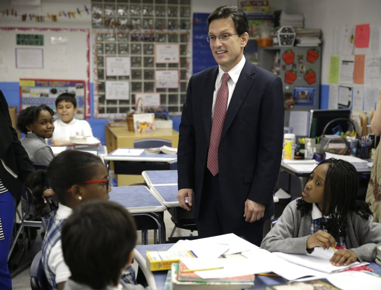 House Majority Leader Eric Cantor visits with students in New York, Monday, May 12, 2014.