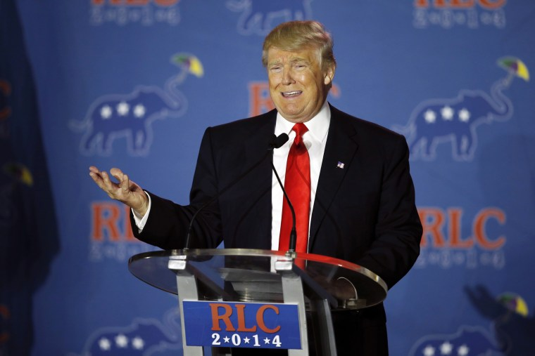 Donald Trump addresses the Republican Leadership Conference in New Orleans, La., Friday, May 30, 2014.