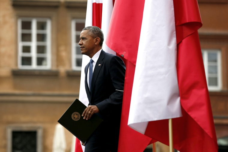 U.S President Barack Obama takes to the stage to speak at a Freedom Day event at Royal Square in Warsaw