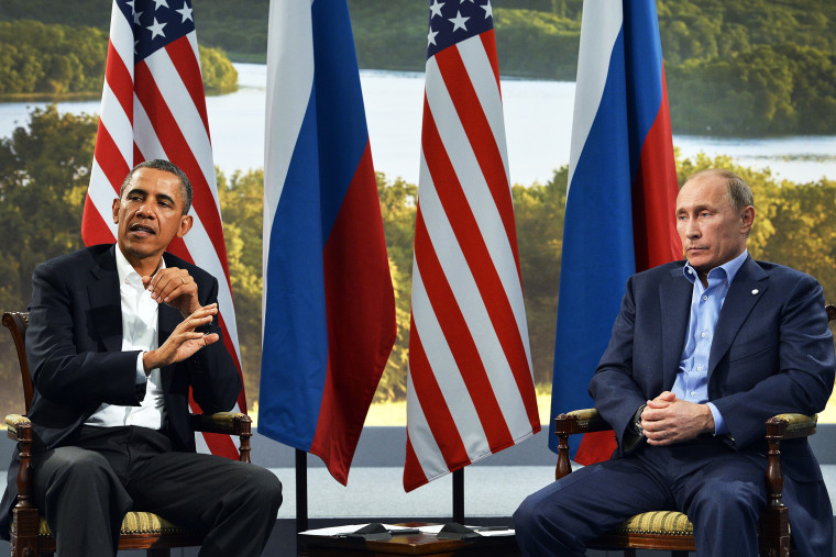 US President Barack Obama and Russian President Vladimir Putin hold a bilateral meeting in Northern Ireland, June 17, 2013.