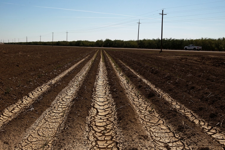Dried and cracked earth is visible on an unplanted field at a farm on April 29, 2014 near Mendota, California.