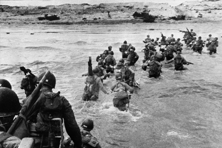 American troops land on Normandy beaches during the historic D-Day, June 6, 1944.