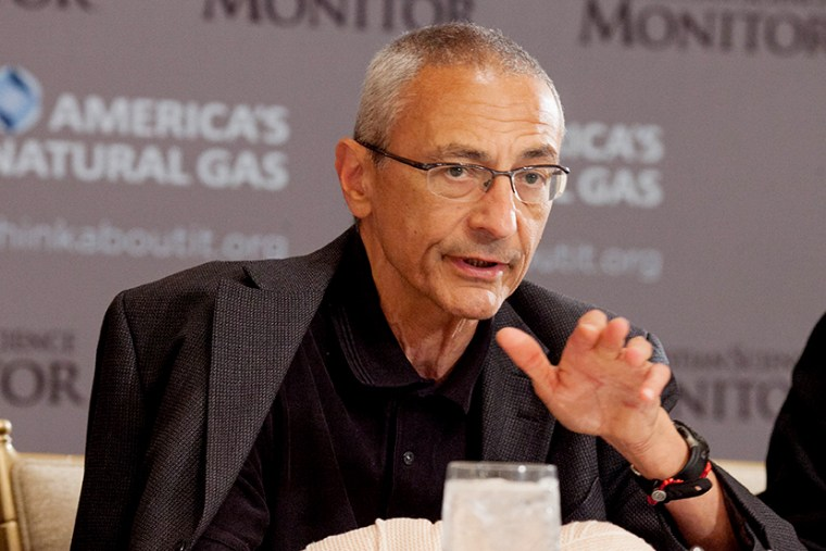 White House counselor John Podesta speaks during a breakfast briefing held by The Christian Science Monitor, June 6, 2014.