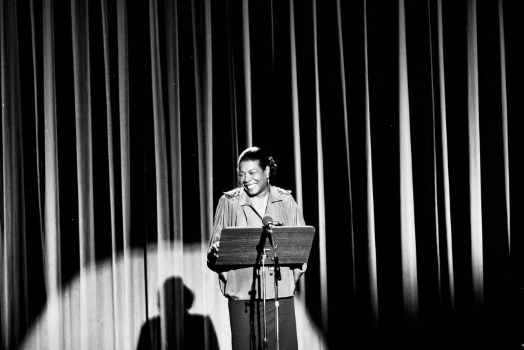 American author and poet Maya Angelou reciting in London in the late 1980's.