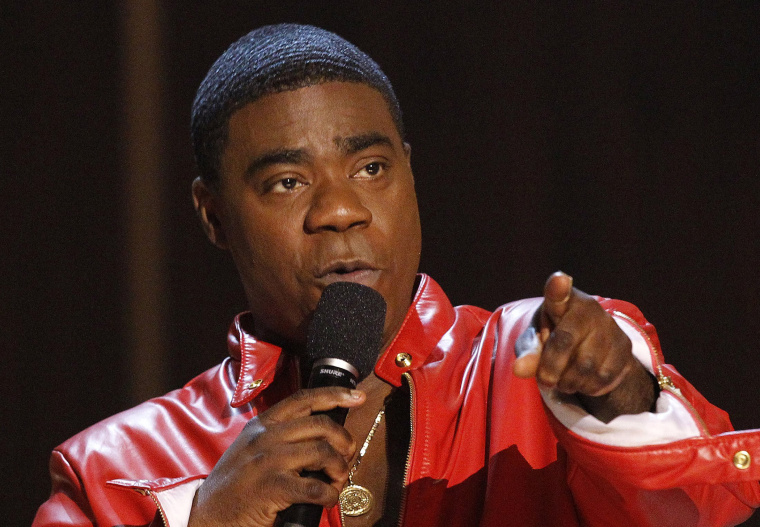 """Actor Tracy Morgan speaks during the taping of the Spike TV special tribute \""""Eddie Murphy: One Night Only\"""" at the Saban theatre in Beverly Hills, California in this November 3, 2012 file photo."""