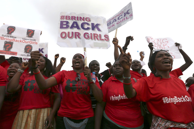 """The Abuja wing of the """"Bring Back Our Girls"""" protest group march to the presidential villa in Abuja"""