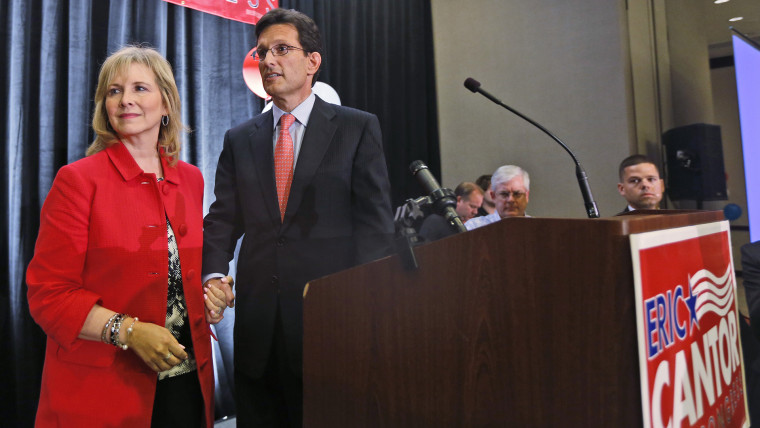 House Majority Leader Eric Cantor, R-Va., and his wife, Diana, leave the stage after his concession speech in Richmond, Va., June 10, 2014.