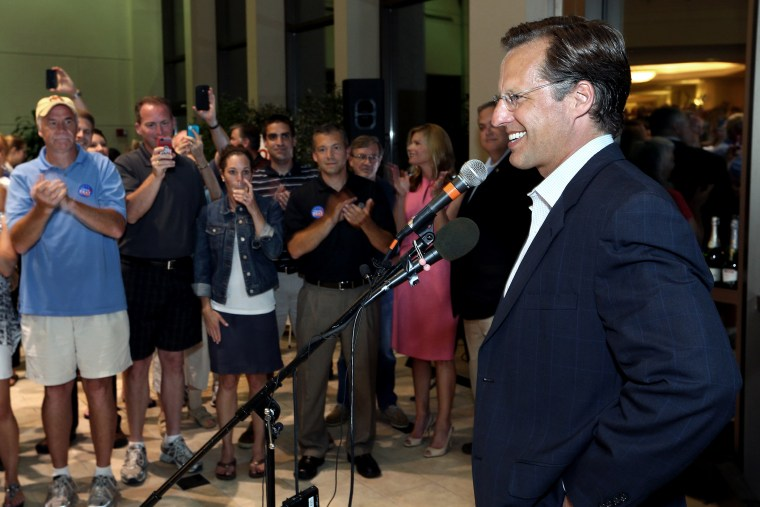 Dave Brat speaks to supporters after defeating Republican Congressman Eric Cantor