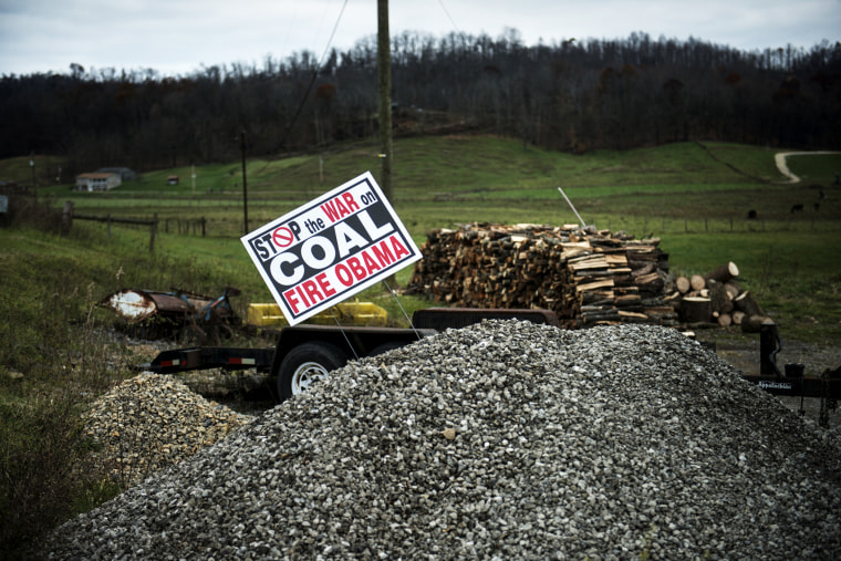 A sign against US President Barack Obama's alleged position against the coal mining industry is seen in Quaker City, Ohio.