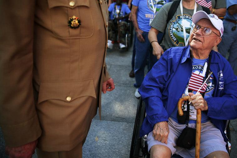 World War II veteran Ted Jafferis (R) visits the World War II Memorial, October 2, 2013.