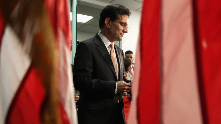 House Majority Leader Eric Cantor (R-VA) arrives for a news conference after telling the Republican caucus that he will resign his post at the U.S. Capitol June 11, 2014 in Washington, DC.