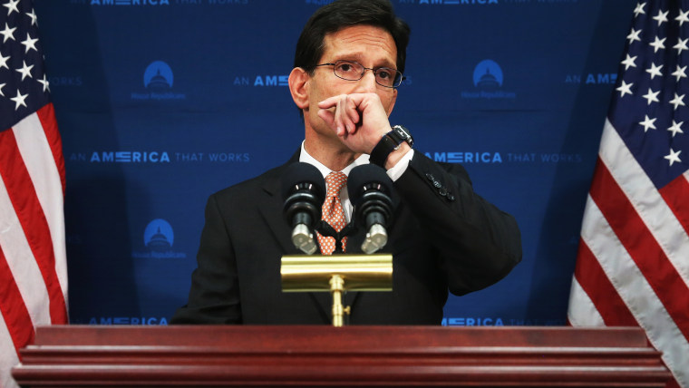 House Majority Leader Eric Cantor (R-VA) talks to the media about his defeat last night, during a news conference at the   U.S. Capitol, June 11, 2014 in Washington, DC.