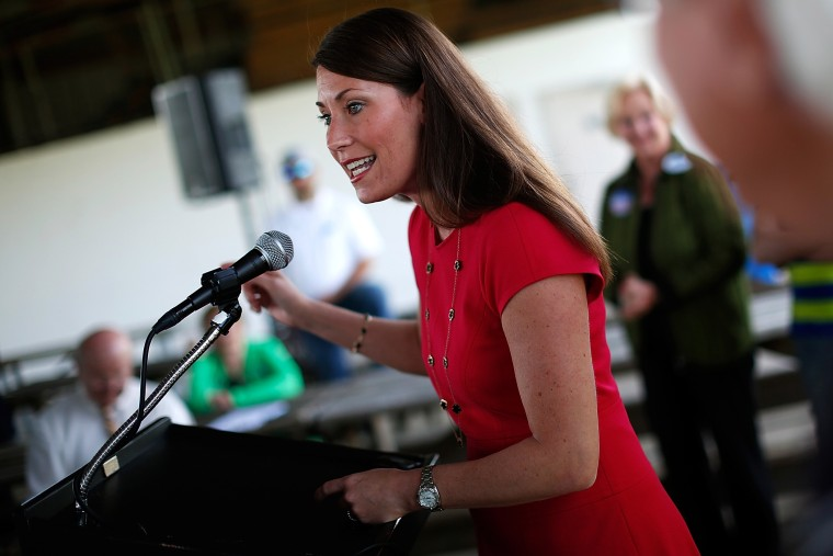 Senate candidate and Kentucky Secretary of State Alison Lundergan Grimes (D-KY) speaks while campaigning in advance of the state's Democratic primary May 19, 2014 in Frankfort, Ky.