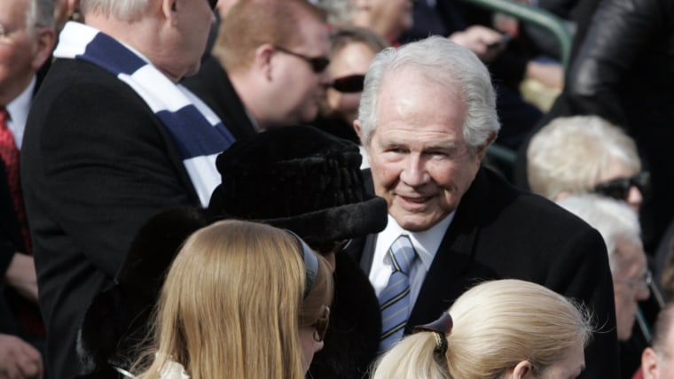 Televangelist Pat Robertson makes his way to his seat in the bleachers for the  inauguration of Virginia Gov. Bob McDonnell at the Capitol in Richmond, Va., Saturday Jan. 16, 2010.