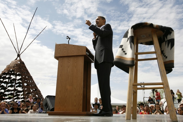Barack Obama campaigns in Crow Agency, Mont. May 19, 2008.