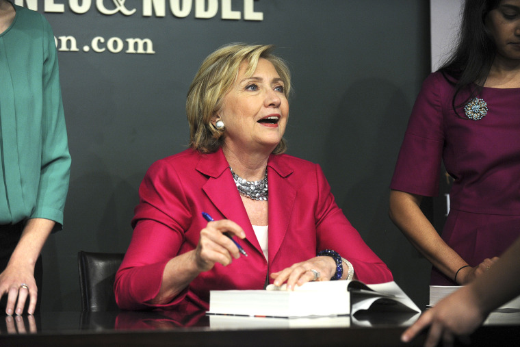 Hillary Clinton meets with people during a book signing for her new book, 'Hard Choices' at a Barnes & Noble on June 10, 2014 in New York.