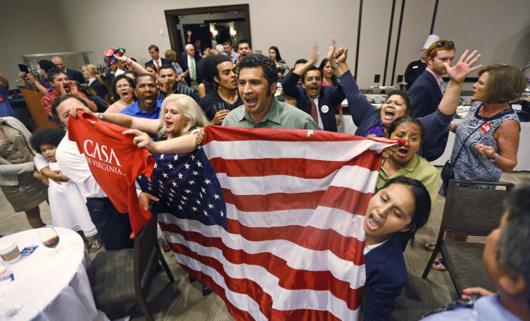 Immigration reform supporters crash the primary-night party of House Majority Leader Eric Cantor, R-Va., Tuesday, June 10, 2014.
