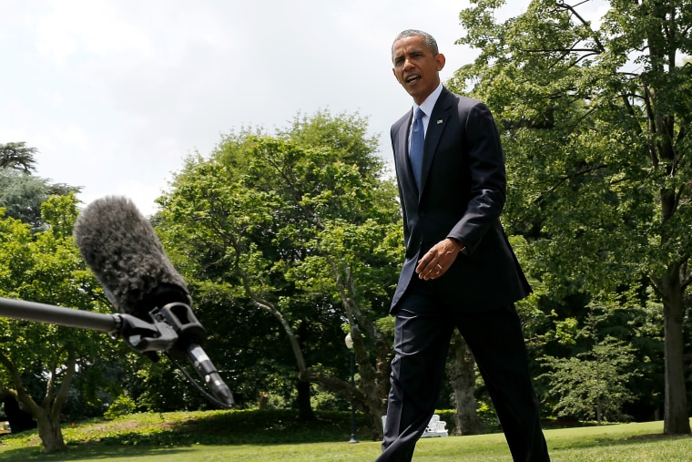 U.S. President Barack Obama departs after making s a statement on the situation in Iraq June 13, 2014 on the south lawn of the White House in Washington, DC.