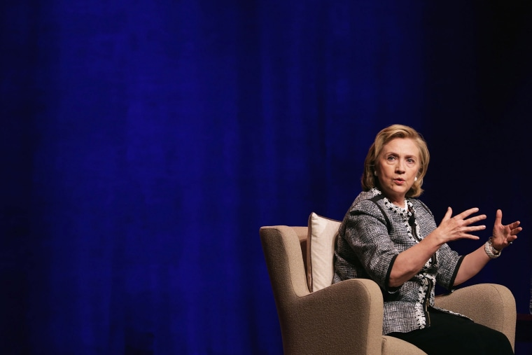 Former Secretary of State Hillary Clinton discusses her new book, 'Hard Choices: A Memoir,' at the Lisner Auditorium on the campus of George Washington University June 13, 2014 in Washington, D.C.