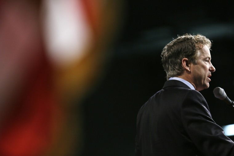 U.S. Sen. Rand Paul, R-Ky., speaks during the Iowa State Republican Convention, June 14, 2014, in Des Moines, Iowa.