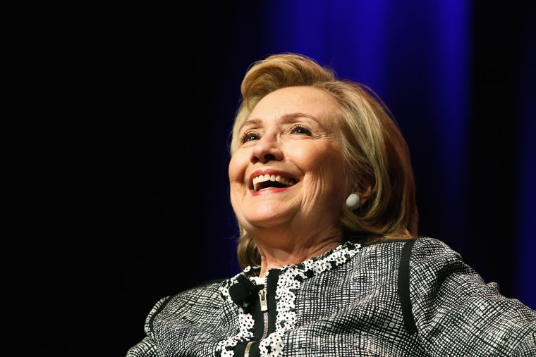 """Former Secretary of State Hillary Clinton reacts to a question as she discusses her new book """"Hard Choices: A Memoir"""" at George Washington University in Washington, D.C. June 13, 2014."""