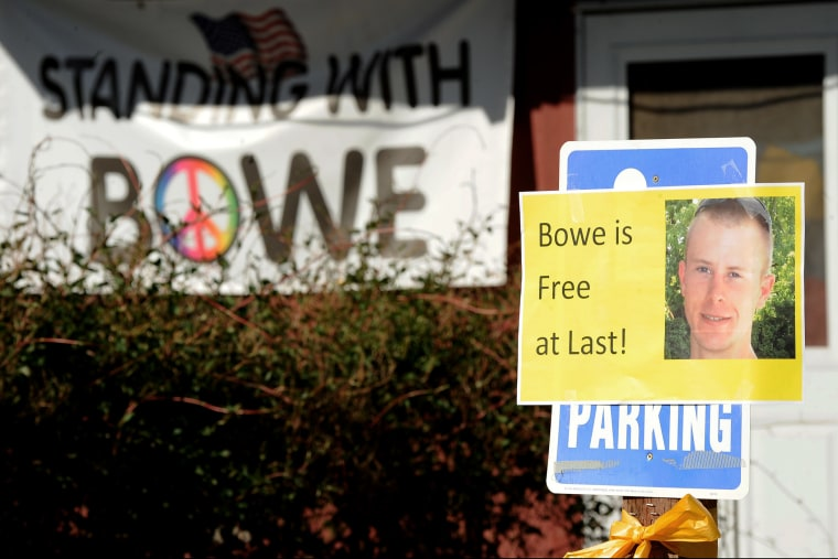 Signs celebrating the release of Army Sgt. Bowe Bergdahl outside Zanies, a coffee shop where Bergdahl once worked, in his hometown of Hailey, Idaho, May 31, 2014.