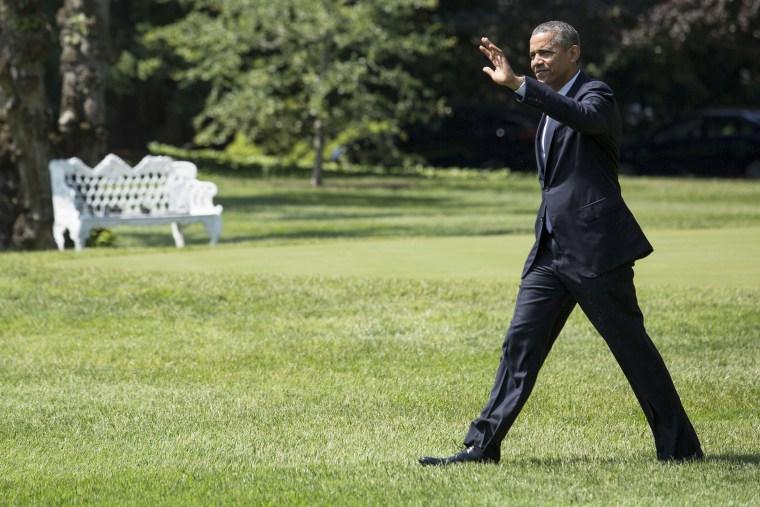 U.S. President Barack Obama walks toward Marine One on the South Lawn of the White House, on June 17, 2014.