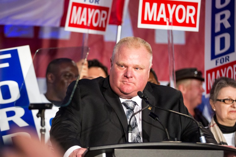 Toronto Mayor Rob Ford speaks during the kick off of his re-election campaign at a rally in the city's north end April 17, 2014.
