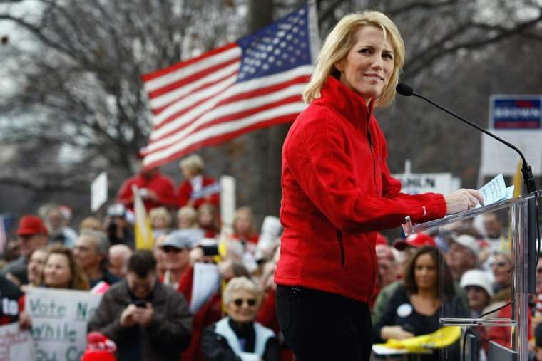 Conservative radio host and commentator Laura Ingraham addresses a health care reform protest.