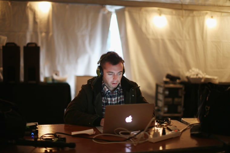 American journalist Michael Hastings reports from the Obama campaign trail the day before the general election November 5, 2012 in Des Moines, Iowa.