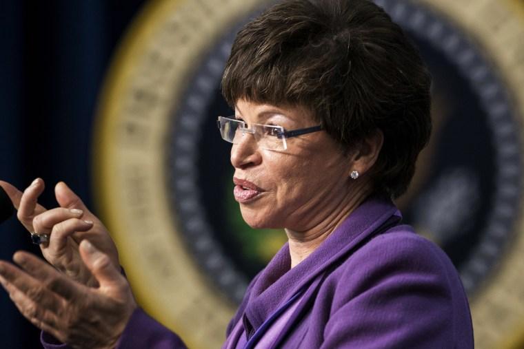 White House Senior Advisor Valerie Jarrett speaks during an event at the White House  January 16, 2014 in Washington, DC.