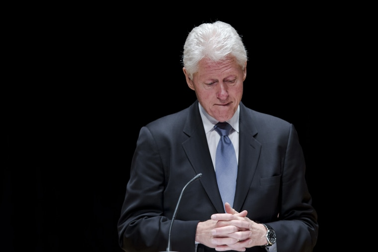 Former President Bill Clinton speaks during a public memorial service for Philadelphia Inquirer co-owner Lewis Katz, June 4, 2014, at Temple University in Philadelphia, Pa.