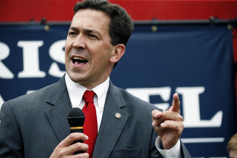 State Sen. Chris McDaniel speaks at a rally in Madison, Miss., June 19, 2014.